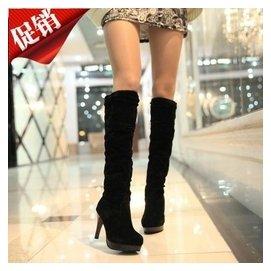 過膝靴女鞋2014 新品細跟長靴 高跟高筒絨面長筒女靴子包郵