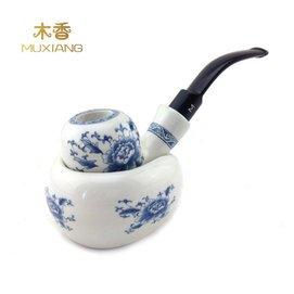 木95青花瓷手工陶瓷烟斗套装 弯柄陶土烟斗 吸水性优于石楠木烟斗