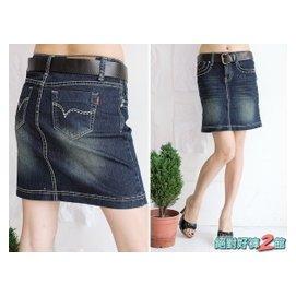 ~絕對好褲~^~零碼 ^~貨號7718中低腰超修飾刷色  壓紋皮帶牛仔短裙^(S號^)