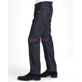 ~美國Levis專賣~高價USA製True Religion 彌勒佛粗線口袋蓋直筒牛仔褲新