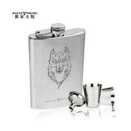 狼家大院 狼頭隨身便攜酒具 不鏽鋼 酒壺 男士隨身酒壺