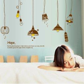省心牆貼臥室客廳電視牆餐廳床頭背景牆壁貼牆貼畫燈泡燈飾貼