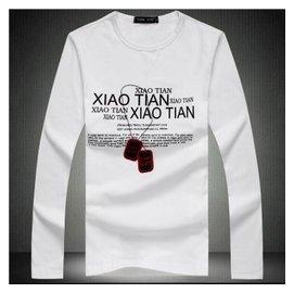 2014新品男t恤衫 項鏈 男版 直筒青春圓領純棉長袖T恤