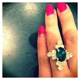 vivi lena日本原單lagunamoon小眾貴牌氣質復古孔雀藍鑽石戒指