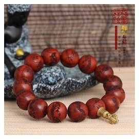 非洲小葉紫檀佛珠 男士手鏈 14.5mm精美木質雕龍 念珠H L4