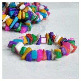 天然七彩小石頭手鏈 貝殼彩塊手鏈隨意 海邊 工藝品