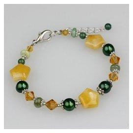 素元 手鏈女天然正品黃水晶石頭原創首飾  復古寬手飾