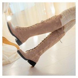 復古繫帶高筒靴平跟女靴子長筒靴低跟馬丁靴平底靴春秋鼕