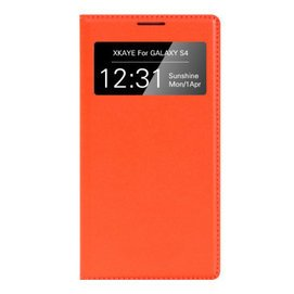 XKAYE 視窗智能休眠套保護殼皮套 於三星Galaxy s4 i9500 橙色