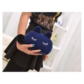 ^(MC^)14 韓國QNIGIRLS 女包可愛絨貓咪化妝包手拿包零錢包