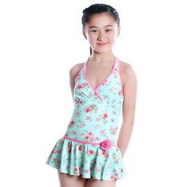 弈姿1211 2015款遊泳衣 少女裝清新碎花連體遊泳衣 送泳帽 藍底玫瑰 12歲