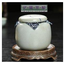 世藏茶酩小號粗陶青瓷茶葉罐 迷你手彩陶瓷汝窯茶葉包裝罐密封 茶具