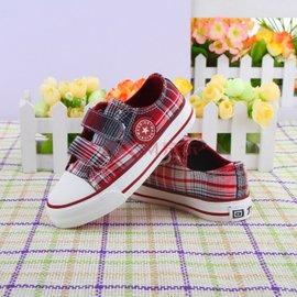 兒童帆布鞋男童女童鞋寶寶 格子單鞋潮板鞋2014春款 魔術貼 紅色 28