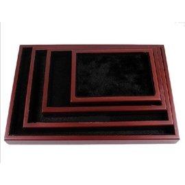 仿紅木黑底長毛絨珠寶玉石空盤托盤首飾展示托盤展示盒飾品盤首飾展示盤 看貨盤 挑貨盤 分貨盤