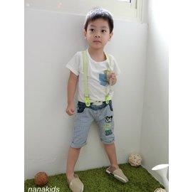 款 男童款 帥氣黃色吊帶藍白線條牛仔短褲 短褲^(6~14號^)^~nanakids娜娜童