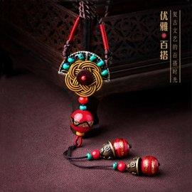 雨江南復古民族風項鏈毛衣掛件長款女松石琉璃吊墜原創 飾品 準長度^(75釐米^)