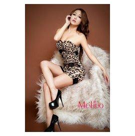 派對夜店合身短洋裝 豹紋牛奶絲拼接蕾絲平口合身洋裝 制服誘惑 角色扮演 酥麻懷抱 含胸墊