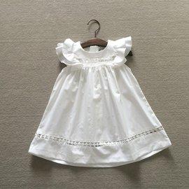 2015 女童寶寶純美飛袖白色小洋裝鏤空連衣裙衫