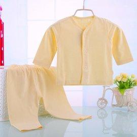 兒童睡衣 男童女童純棉夏裝男孩純棉薄長袖寶寶小孩空調服套裝 黃色 80