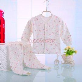 寶寶紗布內衣嬰兒衣服內衣套裝春 男女兒童長袖套裝全棉 粉紅色 80