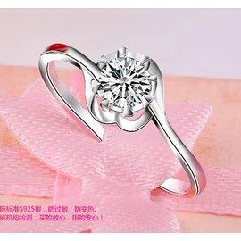 款18白金六爪鑽戒優白黑卡莫桑石情侶求婚戒指女 刻字