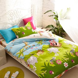 聖可尼  家紡 學生純棉三件套床品床單被套單人1.2米床上用品全棉套件 森林王國 單獨枕套