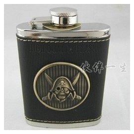 百誠Honest正品男士戶外隨身便攜304不鏽鋼酒壺加勒比海盜4盎司