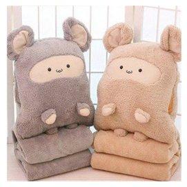 卡卡鼠暖手抱枕被子三用 大號空調毯暖手抱枕三合一 暖手抱枕 1.8^~1毯子 棕色
