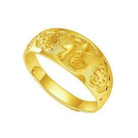 仿金飾品銅鍍24真黃金戒指男女款福戒子真金保色防水