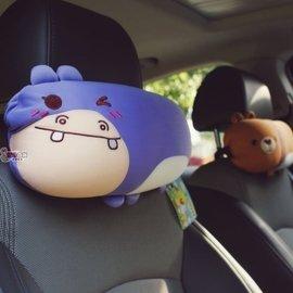 樂多 動物派對車用頭枕 發泡粒泡沫粒子 粉紅豬草莓兔紫河馬黃獅子綠鱷魚藍藍象QQ熊PINK