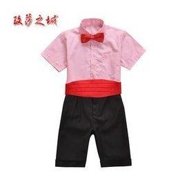 男童 演出表演禮服套裝 花童中褲短褲夏裝 黑色褲子搭白色粉紅色藍色短袖襯衫 配腰封領結 粉
