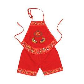 0~8個月嬰幼兒男女寶寶大紅色肚兜短褲套裝周歲百日服 純棉護肚喜慶唐裝薄款透氣 4633紅