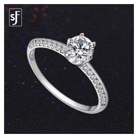 雙佳福925純銀戒指女 商務 六爪鑲閃亮水晶小鑽