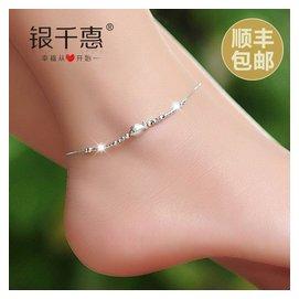 銀千惠925銀腳鏈女情侶  小魚銀飾品配飾 送紅繩手鏈