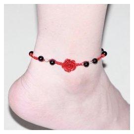 開光正品女人節紅繩腳鏈天然黑瑪瑙 925純銀珠配玫瑰花腳鏈