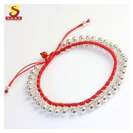羊年本命年紅繩腳鏈純銀鈴鐺腳鏈女款 極細氣質天然石榴石腳繩