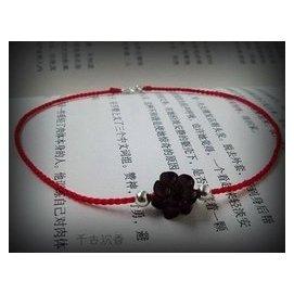 925純銀轉運珠紅繩編織極細腳繩 印度小葉紫檀 腳鏈 生日 女生