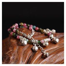 天然水晶碧璽腳鏈女款純銀 紅繩鈴鐺水晶腳鏈百搭飾品