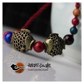 雨江南腳鏈原創飾品腳環五色鈴鐺紅繩民族風女復古雙魚女中國風
