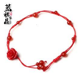 藍祺 紅瑪瑙紅繩腳鏈 配紅色玫瑰花腳鏈 女款保平安可調長短