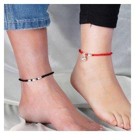 本命年 簡約紅繩腳鏈復古鈴鐺女純銀男情侶 刻字原創轉運珠