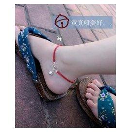 原創 990銀腳鏈鈴鐺紅繩腳鏈 女款 送女友 復古