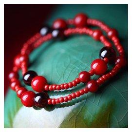 鳳凰涅磐腳鏈 女 復古民族風紅果石榴石 本命年紅繩 飾品