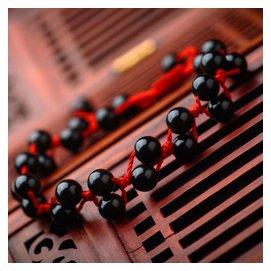 紅繩腳鏈 男士黑曜石情侶民族風 網聚特色腳鏈女紅繩