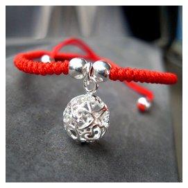 純銀心球紅繩腳鏈男女款日 簡約本命年生日 飾品未鑲嵌