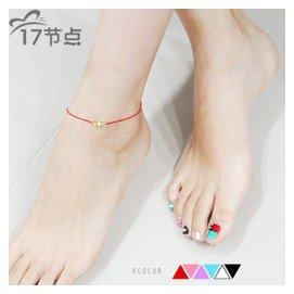 韓國 飾品  簡約氣質紅繩黑繩彩繩金珠合金腳鏈女