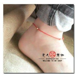 ~梵人飾物~ 編織超細軟服貼紅繩腳飾腳鏈腳繩14 金珠 女