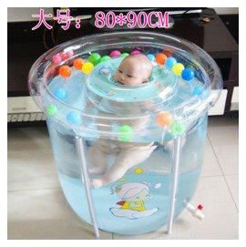 嬰兒遊泳池套裝超大 支架透明遊泳池家庭戲水池 遊泳池嬰幼兒童水池 嬰兒遊泳桶 透明支架中號