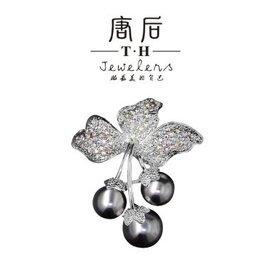 唐後 新品胸花 高檔女別針絲巾扣 貝殼珍珠胸針 鉑金色黑珍珠