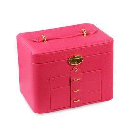 佳禮坊 首飾盒 木質 大號化妝盒梳妝盒 公主歐式帶鎖飾品戒指盒化妝鏡飾品盒子 結婚 大號桃